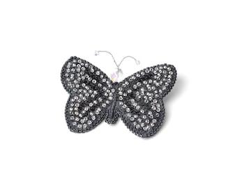 Butterfly brooch, Black butterfly jewelry pin Black brooch, Beaded brooch, Crystals brooch Statement brooch, beaded brooch, Gift for her