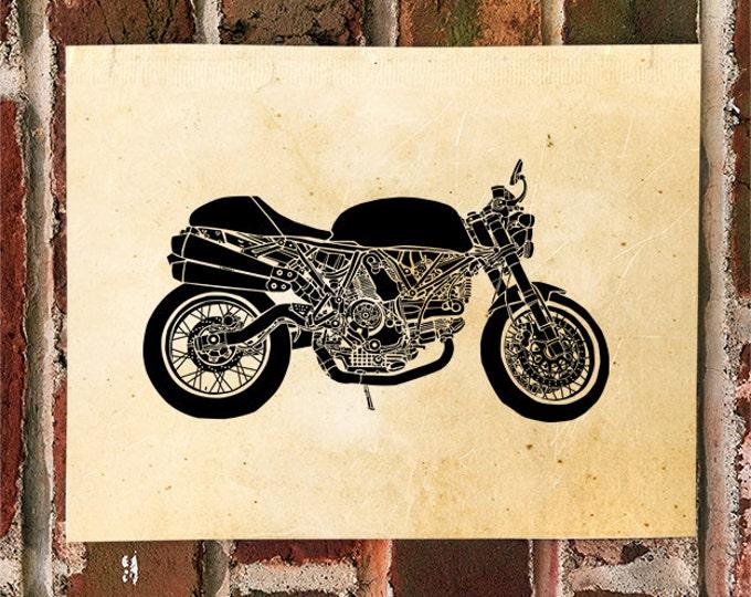 KillerBeeMoto: Limited Print Italian Cafe Racer Motorcycle Print 1 of 50