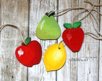 Canning Jar Labels Jar Tags Hand Painted Chalkboard Reusable Canning Labels Fruit Apple Pear Strawberry Lemon