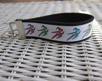 Runner Womens Keychain - Marathon Girls Key Fob - Custom Keychain - Running Gift - Key Fob Wristlet - Webbing Keychain - Key Holder