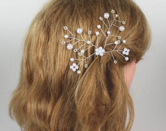 Pearl Hairpins, Bridal Hair Accessories, Floral Hair Pin, Silver Wedding Hair Piece, Wedding Accessories,