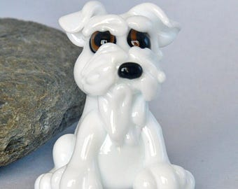 DOG, Glass Miniature Schnauzer Dog Bead,   lampwork glass bead, whimisical lampwork focal bead, Izzybeads SRA