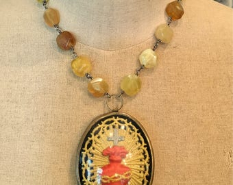 Golden Light - A French Sacred Heart Domed Relic Necklace
