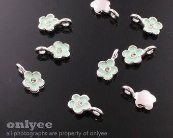 4Pcs -11mmX6mm Rhodium Plated over Brass Daisy withGreen Enamel Charms Pendant(K562S-A)