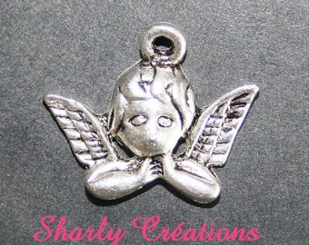 x 5 silver metal winged angel pendants 20x13mm: BA0009