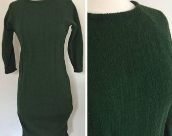 Dark Green Vintage Wiggle Dress; 50s Wiggle Dress; Dark Green Dress; Vintage Green Dress; Long Sleeve Dress; Winter Dress; Knit Dress