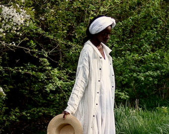 100% Linen Dress Stripes, hand made in London, sustainable, artisan, fashion
