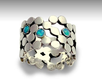 Sterling silver ring, blue opals ring, birthstones ring, gemstones ring, dotted ring, wedding ring, wide silver band - Yet to discover R1529