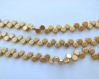 Two Hole Honeycomb Pale Gold (30 Beads)