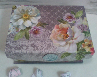 """Lace Box Memory Box, Mother's Day Gift, Lavender Birthday Anniversary """"Growing up ME!  Memory Compendium©"""" RoadSideBoutique Mary Lynn Savko"""