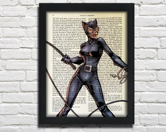 Cat Woman, Catwoman, printed on Vintage Paper - dictionary art print, book prints