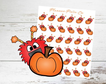 Monster Planner Stickers // Fall // Autumn // Pumpkin // 093