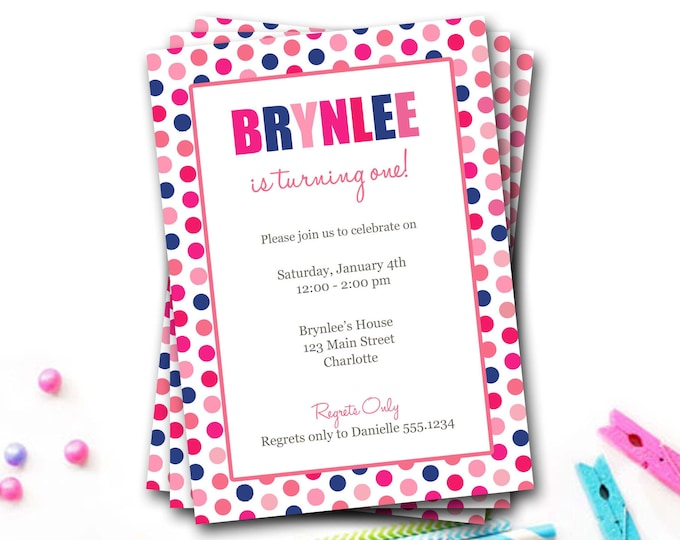 Polka Dot Birthday Invitation, Pink And Blue, Colorful Invitation, Polka Dot Invite, Girl Invitation, First Birthday Party, DIY Printable