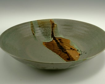 Deep mint green plate with brown accent -- Wide mint green bowl with brown accent