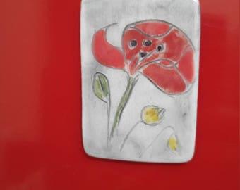 Magnet ceramic poppy