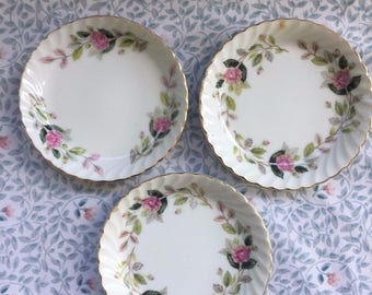 SET Of THREE - Creative Fine China Japan 2345 Regency Rose Coasters / Saucers