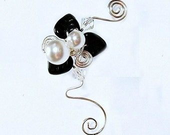Ear Cuff Harlequins Fancy Ear Vine, No Piercing, Fairy Jewelry, Fantasy Ear Cuff Vine Wrap, Gift Idea, Gift for Her Stocking Stuffer