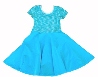 Short Sleeve Skater Dress Twirl Toddler Girls Kids Cotton Jersey, Turquoise Slub Blue twirl twirling spin clothing