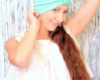 Fashion Turban in Mint -  Women's Hair Wrap - Jersey Knit Head Covering - Lots of Colors