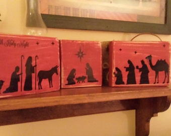 Nativity Scene Vinyl Decal - Christmas, Glass Block, Lighting, Lights, Wood