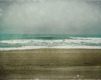 Beach Photography Coastal Shore Photograph Stormy Sky Seaside Waves Brown Teal Aqua Dreamy Beach Wall Art 8x12