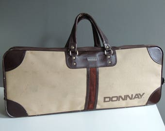 Donnay vintage tennis bag in leather and fabric / racket sports handbag / 70s