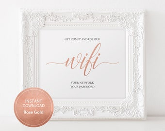 Editable PDF Template 8x10 WiFi Password sign INSTANT DOWNLOAD Calligraphy Guest Wifi sign Guest Room Sign printable Rose Gold #DP140_41