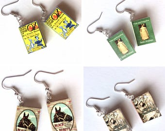 Mini Book Earrings, Book Cover Jewelry, Book Lover Gift, Librarian Gift, Book Charm, Classic Literature, Reader Jewelry, Literary Gift
