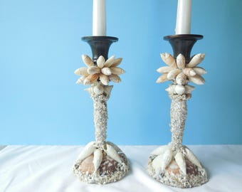 Sea Shell Candlesticks-Candle Holder-Beach Decor-Beach Candle-Taper Coastal Candle Sticks