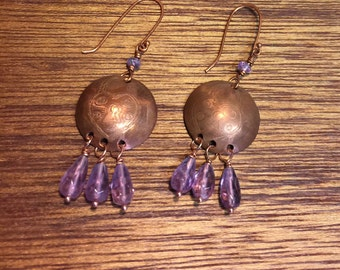 Amethyst faceted drops on etched copper blank earrings