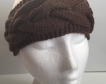 Ladies Chocolate Brown 55% Wool Cable Stitch Ear Warmer Headband - Hand Knitted in Scotland