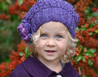 KNITTING PATTERNS slouchy hats  'Damson Tweed' - baby to adult sizes