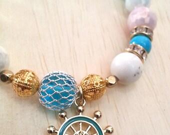 Czech Glass Beaded Bracelet with Enamel Helm Charm