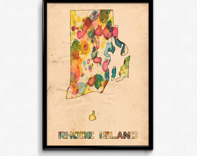 Rhode Island Map Poster Watercolor Print - Fine Art Digital Painting, Multiple Sizes - 12x18 to 24x36 - Vintage Paper Colors Style