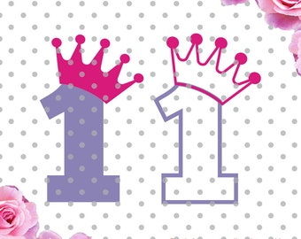 1st Birthday Svg with crown cutting file, princess birthday design for cricut design space and silhouette studio, Princess svg dxf, crowns