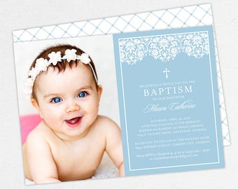 Photo Baptism Invitation, Christening Invitation, Girl Baptism Invitation, Printable Baptism, PDF, DIY, Printed, Lace Invite, Blue, Maura