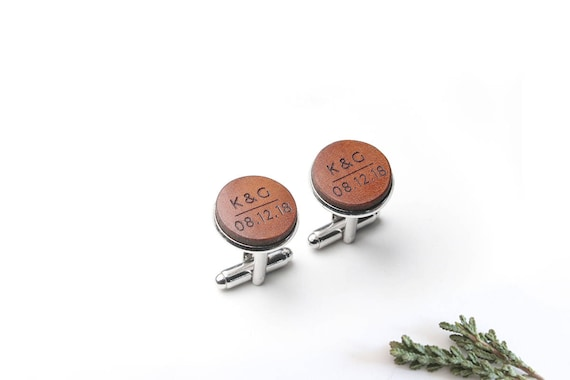 Gift from Bride to Groom, Groom Cufflinks, Wedding Cufflinks, Leather Cufflinks, Monogram Cufflinks, 9th Anniversary, Cuff Links, Fiancee