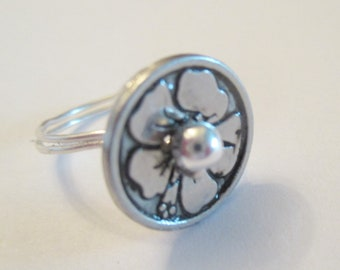 Bauhinia Flower Silver Button Wire Wrapped Ring, Button Ring, Wire Wrapped