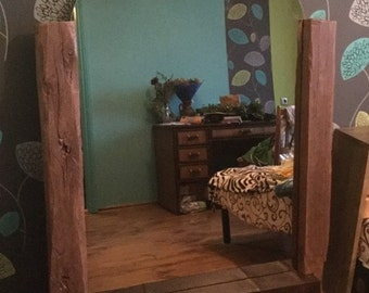 rustic mirror in a frame of an old oak