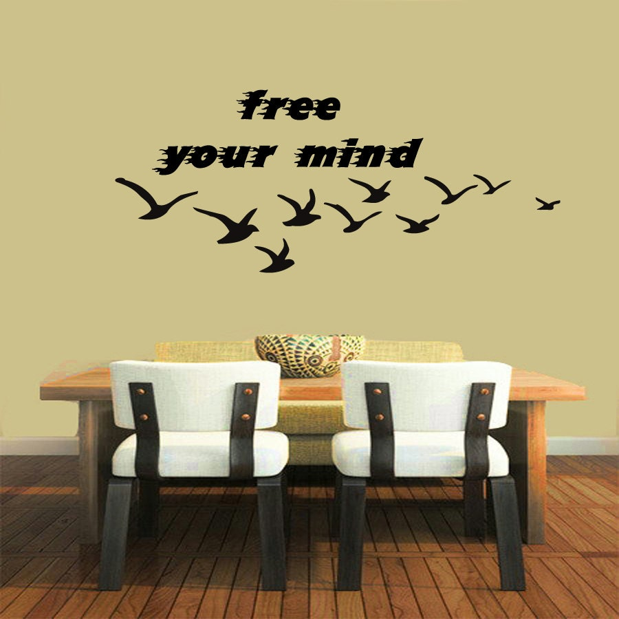 Freedom Wall Decals Quote Birds Sea Gulls Words Free Your Mind