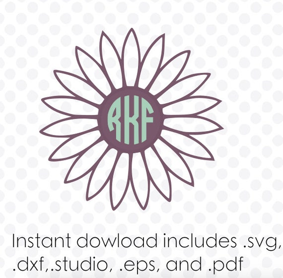 Daisy Monogram Frame Instant Download Zipped Eps Pdf Dxf
