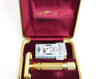 Vintage GILLETTE Aristocrat Brass Safety Razor w/ Original Box 1940s Made in USA
