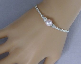 Light Pink Pearl Bracelet, Light Pink Bracelet, Swarovski Rosaline Light Pink Pearl, Bridesmaid Bracelet, Pink Wedding Bracelet