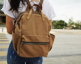 Canvas diaper brown Backpack , Brown Bag, Canvas backpack , Diaper Bag , Laptop bag, Women , unisex , School bag, Vegan Leather,BLACK FRIDAY