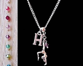 Silver Personalised Initial Gymnastic Charm Necklace with Swarovski Crystal
