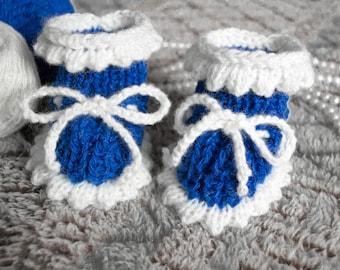 Baby Booties - Blue Crochet Handmade babyshoes baby shower gift newbornbooties