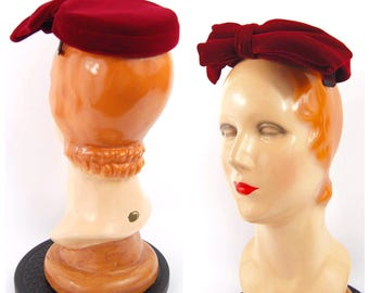 1950s blue red Velvet Pillbox Hat / 50s cherry red hat with bow 50s - 60s rockabilly Miss Luci