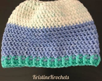 Adult Crochet Messy Bun Hat!