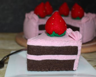 Felt strawberry chocolate cake