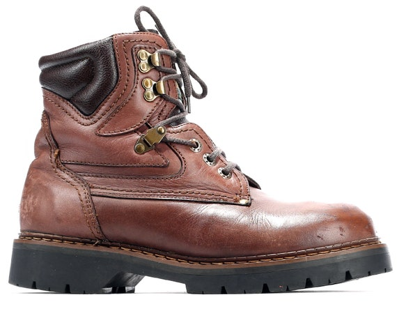 Chunky Sole Boots size Walking Lace Insulation 8 Up UK 8 Shearling Brown US Ankle 80s Eur Look 5 Hiking men 42 Distressed Rugged Leather w4x64SqT